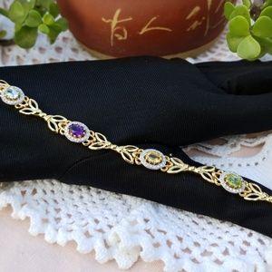 Jewelry - Genuine Stone 💜 18K Gold Over💚 Brass Bracelet 💎